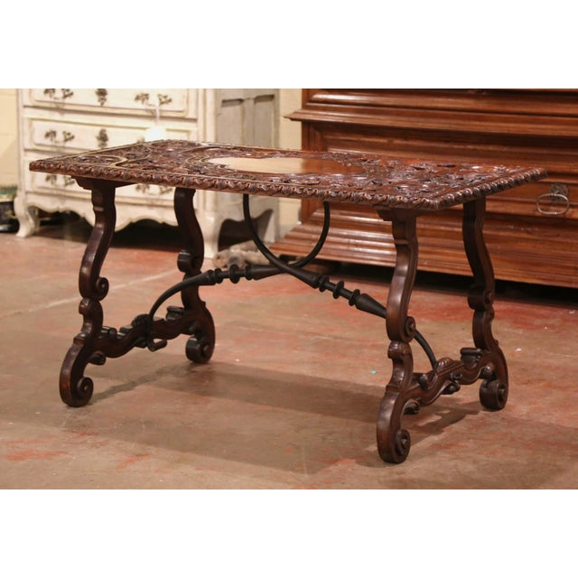 19th Century Spanish Carved Walnut and Wrought Iron Console Center Table For Sale - Image 4 of 13