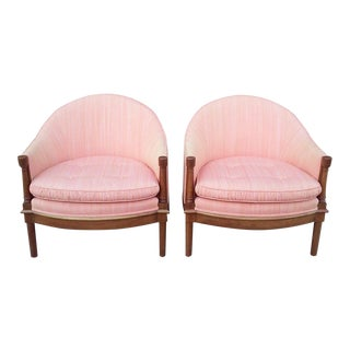 Salmon Dupioni Silk Tub Chairs-A Pair For Sale