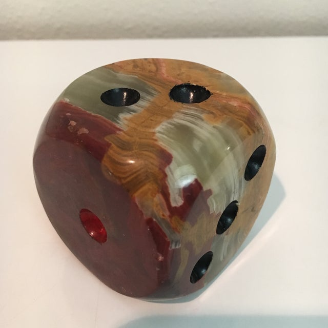 Offered is a vintage earth tone alabaster paperweight.