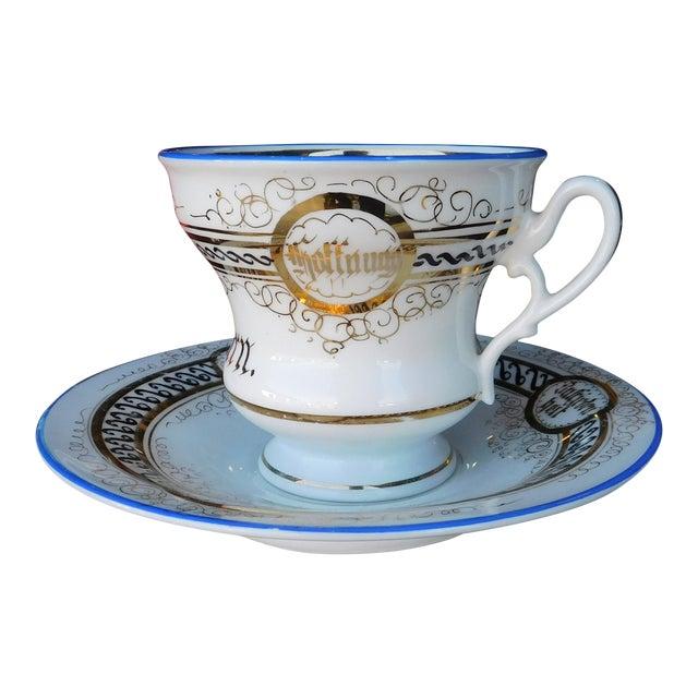 Antique German Victorian Porcelain Dem Hausherrn Decorated Cup & Saucer C1900 For Sale