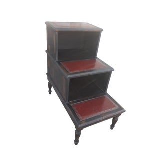 Antique English Library Stairs Distressed Leather Top Library Steps For Sale