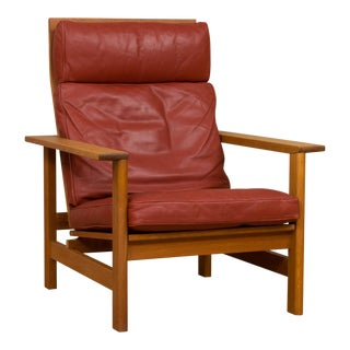 Danish Mid-Century Modern Soren Holst Red Leather and Oak Reclining Lounge Chair for Fredericia For Sale