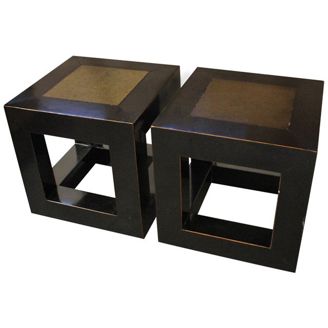 Chinese Elmwood & Stone Square Tables - Image 1 of 9