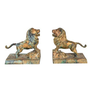 Hollywood Regency Cast Iron Lion Bookends with Faux Bronze Patina
