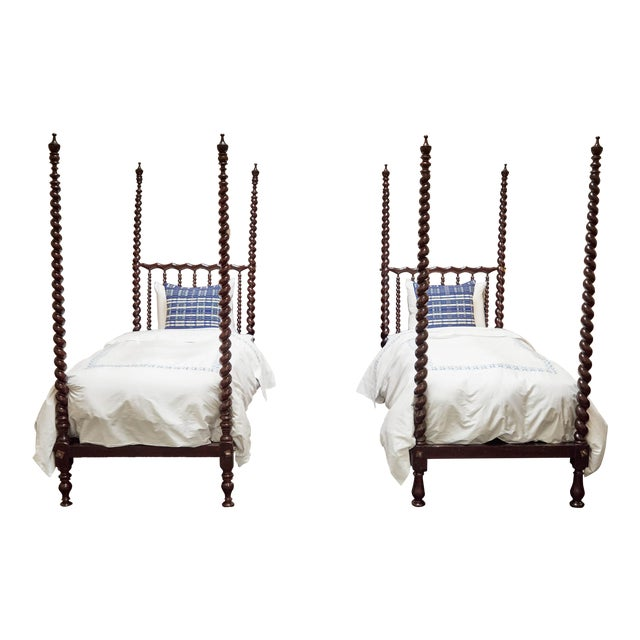 Early 20th C. Spanish Majorcan Walnut Poster Beds - a Pair For Sale
