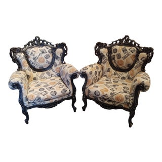 Early 21st Century Contemporary Style Baroque Accent Chairs- A Pair For Sale