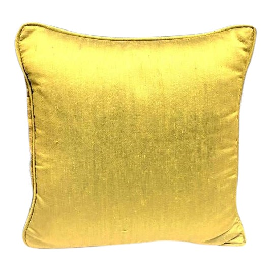 Olive Raw Silk Throw Pillow For Sale