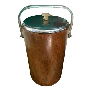 Mid Century Teak Ice Bucket by Thermos For Sale