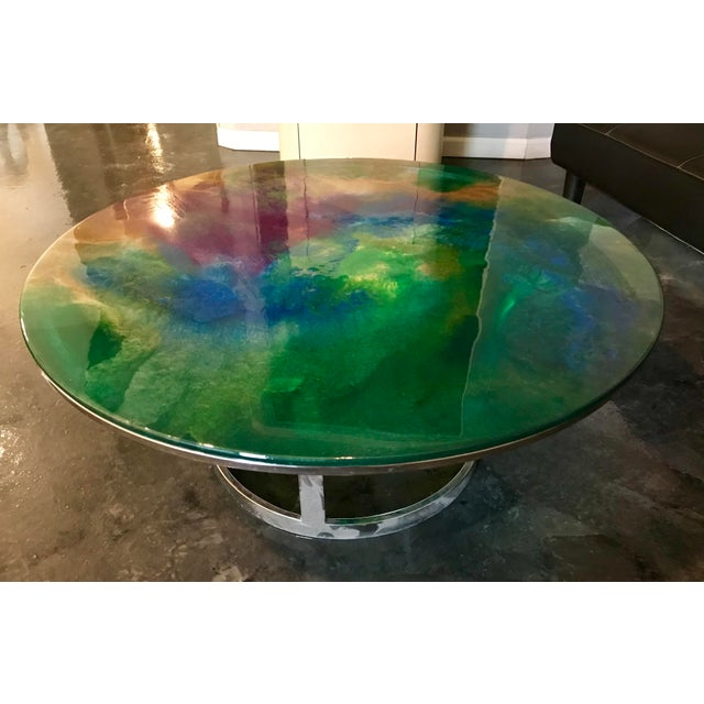 Designer Hand Painted Epoxy Resin on Glass Chrome Accent Table For Sale In Palm Springs - Image 6 of 6