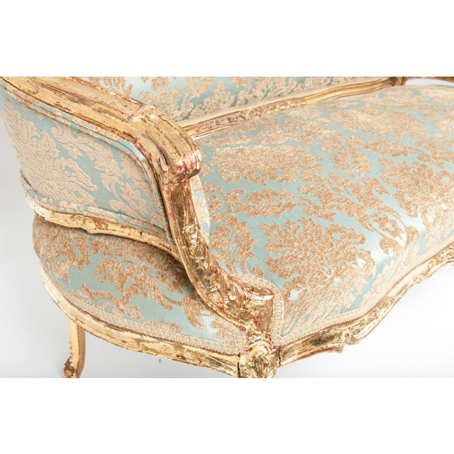 Antique Gilded Louis XVI Style Settee For Sale - Image 4 of 7
