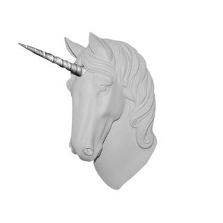 "Wall Charmers ""The Luna"" Faux White + Silver Horn Magical Unicorn Head Wall Hanging For Sale"