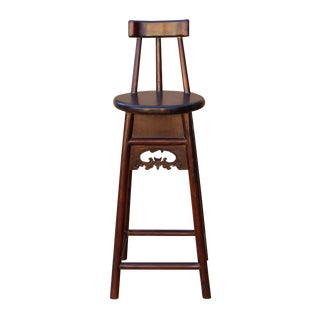 Quality Handmade Chinese Dark Brown Solid Elm Wood Bar Stool With Back For Sale