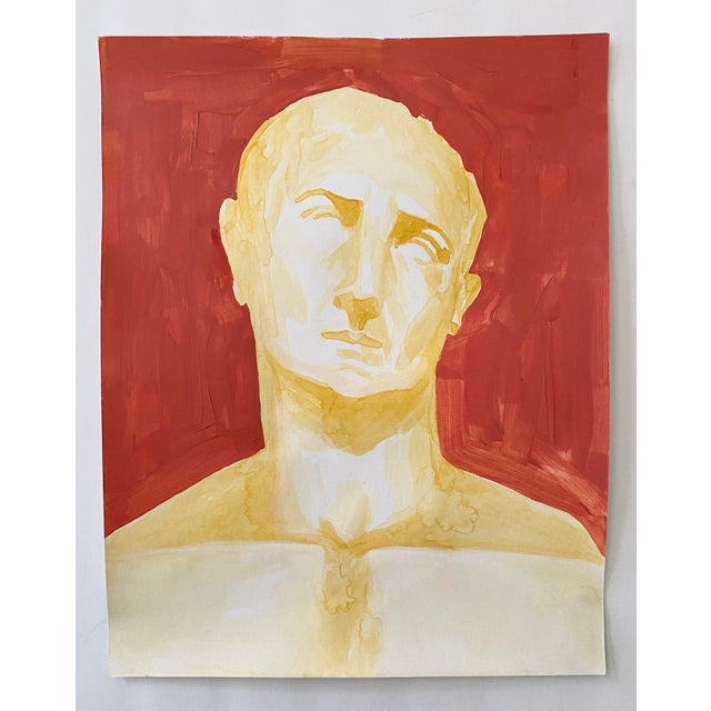 Brick Red Roman Emperor Trajan Bust Painting, Acrylic on Paper For Sale - Image 8 of 8