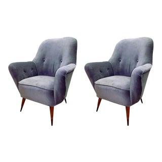 Italian Mid Century Salon Armchairs in Grey Velvet, Circa 1950 - a Pair For Sale
