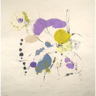 """Tracey Adams """"Rajas 13"""" Abstract Colorful Painting on Paper For Sale"""