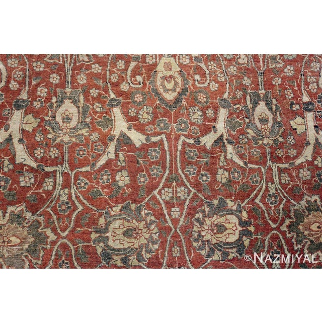 A Beautiful And Finely Woven Large Room Size Rust Color Antique Persian Tabriz Rug, Country Of Origin / Rug Type: Persian...