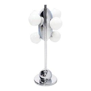 Mid-Century Modern Six Globe Chrome Disc Symmetrical Table Lamp For Sale