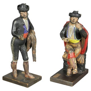 Pair of Spanish Polychrome Terracotta Creche Figures, Malaga For Sale