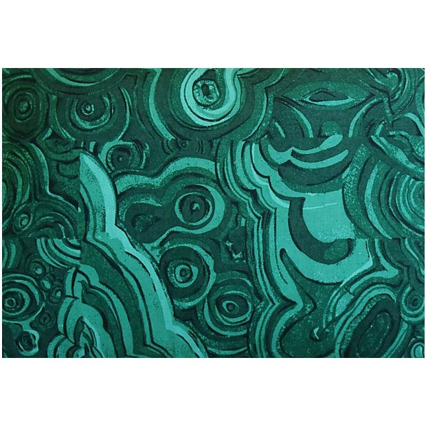 """Abstract 25"""" X 18"""" Custom Tailored Jim Thompson Malachite Green Feather/Down Pillows - Pair For Sale - Image 3 of 11"""