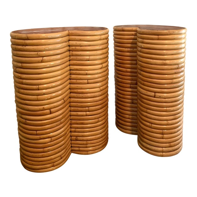 Boho Chic Bamboo Table Bases - a Pair For Sale