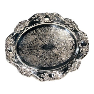"""Vintage Towle Baroque """"Old Masters"""" Silver Plated Tray / Platter For Sale"""