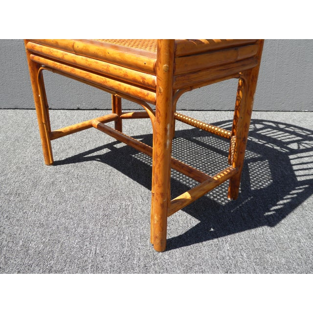 Vintage Chinoiserie Brighton Pavillion Style Rattan Bamboo & Cane Arm Chair For Sale - Image 10 of 11