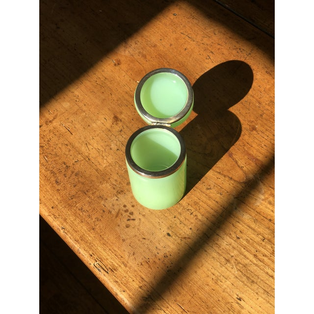 19th Century Green Cylindrical Opaline Glass Vase For Sale - Image 5 of 7