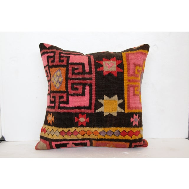 Pink Turkish Kilim Cushions - Pair - Image 3 of 6