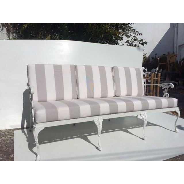 White Traditional Aluminum Garden Sofa with New Sunbrella Grey and White Cushions - Lovely Metal Detail.