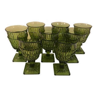 1960s Hollywood Regency Indiana Glass Company Green Colony Square Base Water Goblets - Set of 8 For Sale