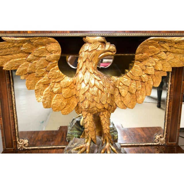 Gilt Opposing Eagle Console Tables - Pair For Sale - Image 5 of 10