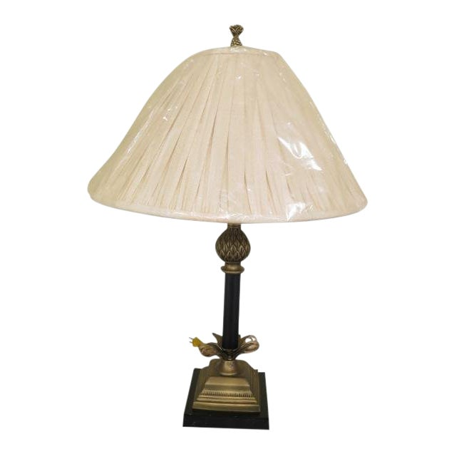 1990s Vintage Brass & Ebony Pineapple Table Lamp For Sale
