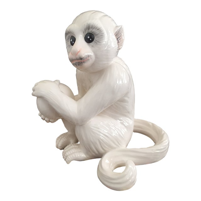 Porcelain Ceramic White Capuchin Monkey Figurine