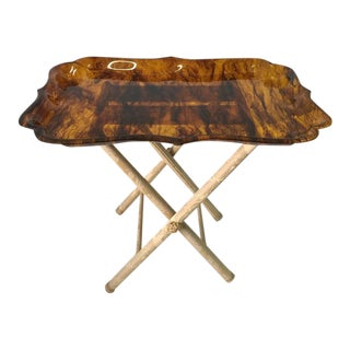 Exceptionally Large Tortoise Acrylic Tray on Fortuny Silk Covered Stand For Sale