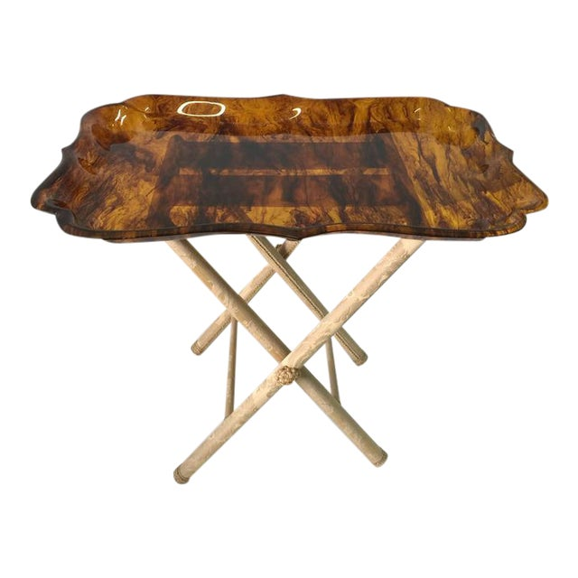 Exceptionally Large Tortoise Acrylic Tray on Fortuny Silk Covered Stand - Image 1 of 6
