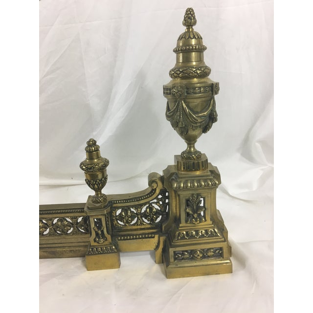 Metal French Louis XVI Brass Chenet - 3 Pieces For Sale - Image 7 of 10