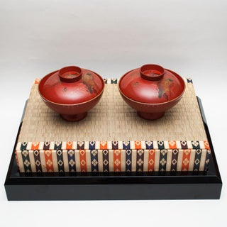 Late Shōwa Japanese Lacquered Wood Covered Bowls on Tatami Mat Preview