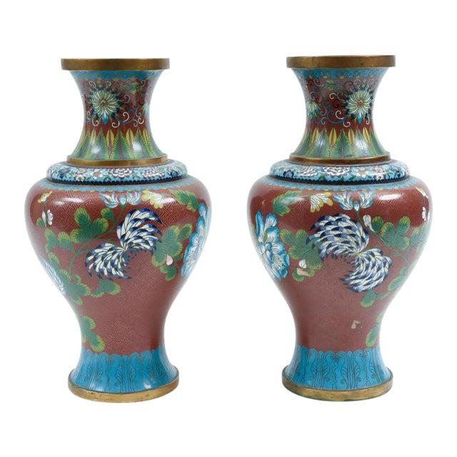 Late 19th Century Cloisonné Floral Decorative Vases - a Pair For Sale