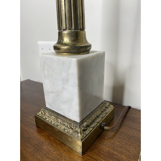 Mid Century Marble and Brass Lamps - a Pair For Sale - Image 9 of 11