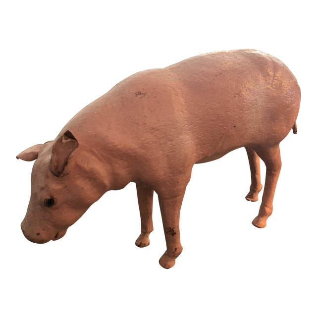 Old Leather Pig With Glass Eyes For Sale
