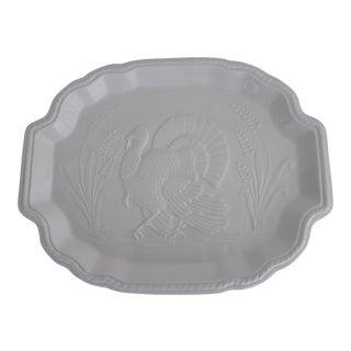 Vintage White Ceramic Thanksgiving Turkey Platter For Sale