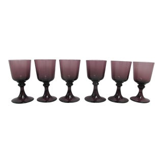 Small Amethyst Purple 4.25' Wine Goblet Set of 6 Glasses For Sale