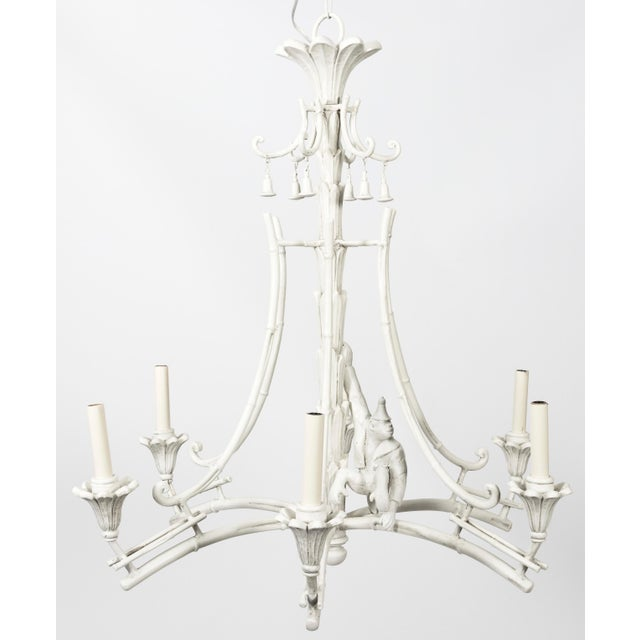 Paint Serge Roche Style White Plaster Chinoiserie Palm Chandelier For Sale - Image 7 of 7