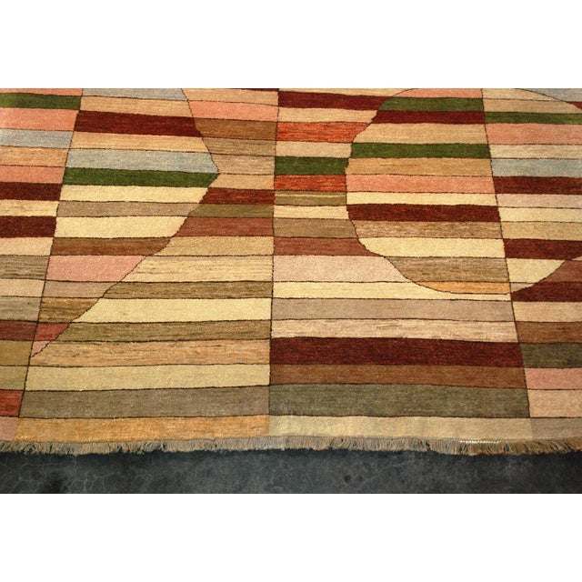 Abstract Geometric Art Deco Style Square Wool Gaba Rug For Sale - Image 3 of 6