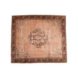 "Distressed Vintage Oushak Carpet - 9'10"" X 11'3"" For Sale"