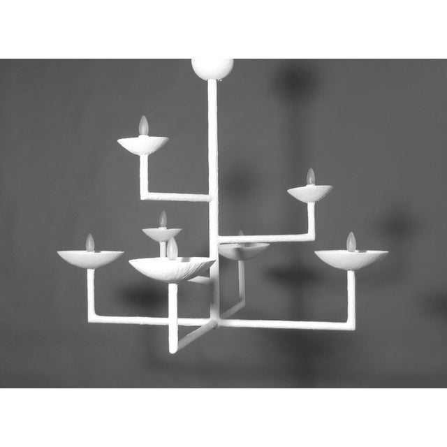 7 Cup Plaster Chandelier For Sale - Image 12 of 12