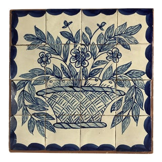 Blue and White Hand Painted Tiles For Sale