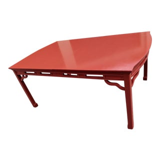 1960s Fick Reed Wooden Top Lacquered Table With Leaf For Sale