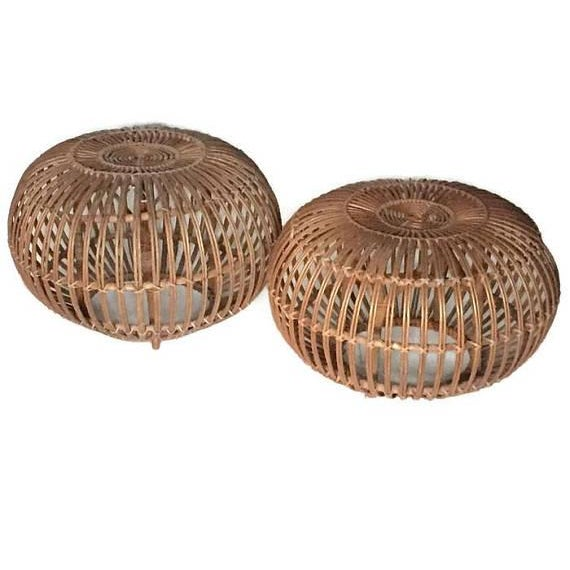 "Mid Century Modern Side Tables Albini Rattan Ottomans 24"" - A PAIR For Sale - Image 10 of 12"