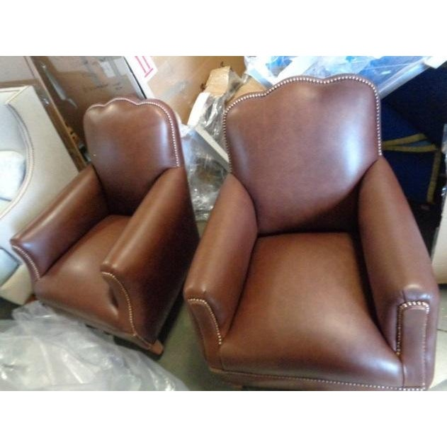 Distressed Leather Chairs - A Pair For Sale - Image 11 of 11